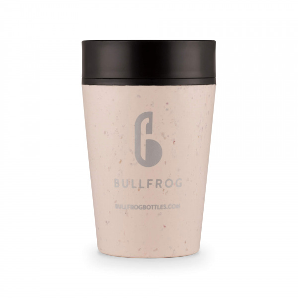 Cream and Black Bullfrog 270ml Coffee Cup