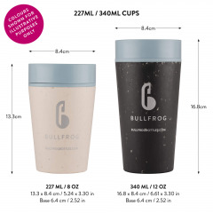 Bullfrog Coffee Cup Size Comparison - 8oz / 12oz