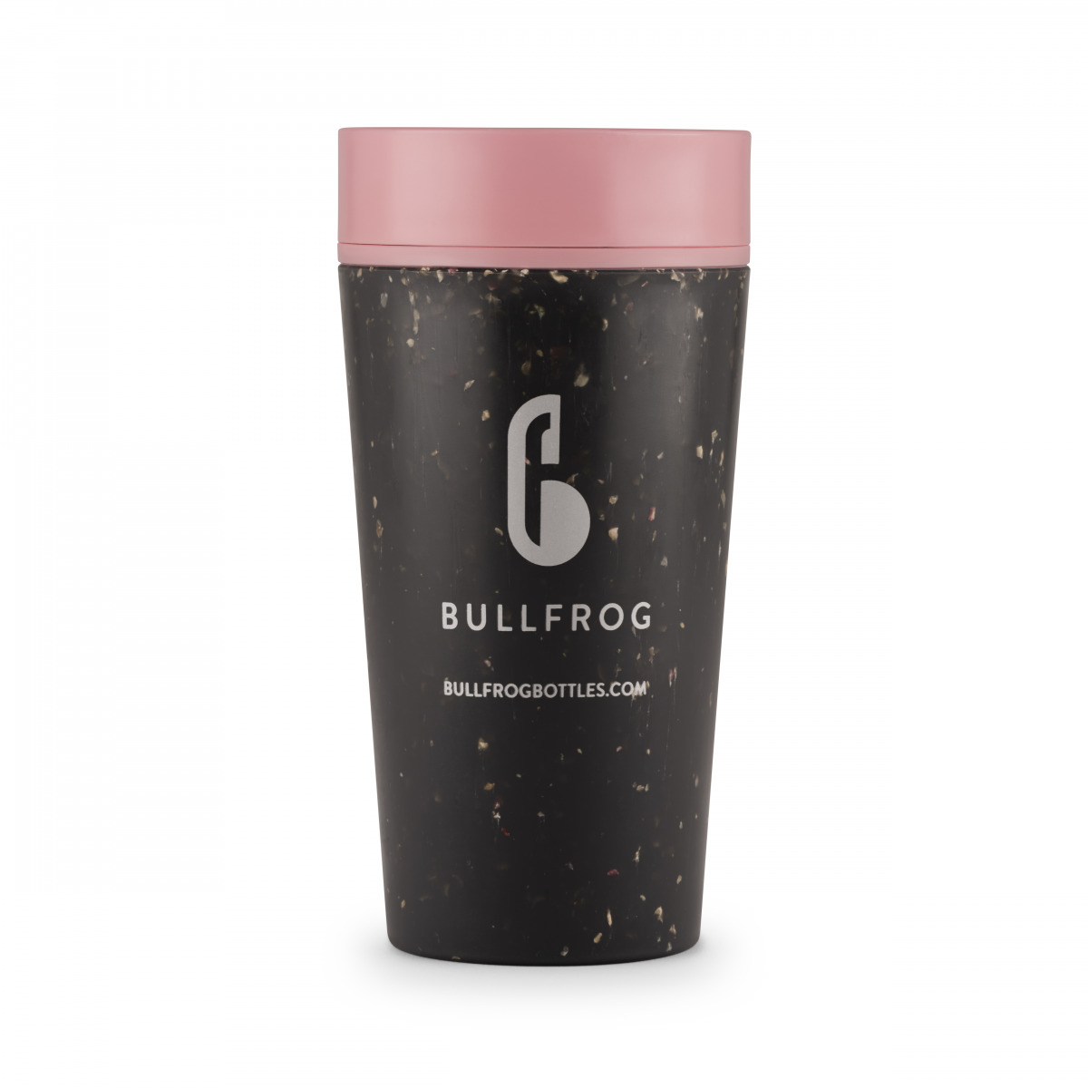 12oz black and pink coffee cup